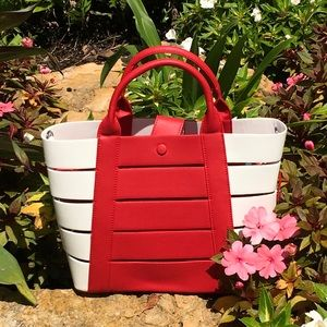 🌸2 IN 1 TOTE RED/WHITE SATCHEL TOTE